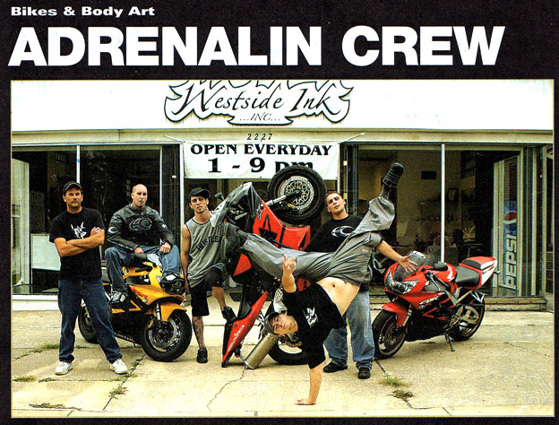 Adrenalin Crew is a documentary on motorcycle stunt riding and the lifestyle